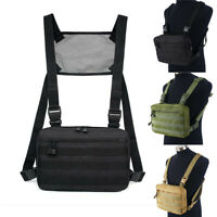Mens Chest Bag Tactical Molle Harness Chest Rig Hip-Hop Fanny Pack Backpack Bags