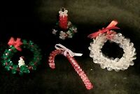 Fabulous Vintage Handmade Beaded Christmas Ornaments - Candle Wreath Candy Cane