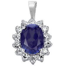 Sterling Silver Cubic Zirconia & Sapphire Oval Pendant Jewellery