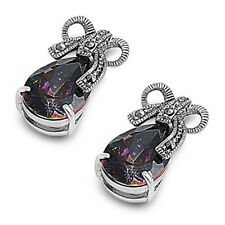 Rainbow Topaz with Ribbon Earrings Cubic Zirconia Sterling Silver 925 Jewelry