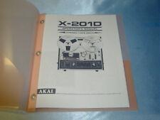 AKAI X-201D  REEL TO REEL TAPE DECK  OPERATOR'S MANUAL FREE SAME DAY SHIPPING