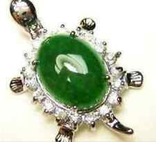Natural 12x14mm Green Jade Oval Bead inlay Turtle Pendant(20x35mm) Aaaar