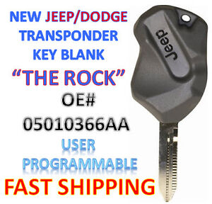NEW 1998-2006 Dodge Jeep Transponder Ignition Chip Key - USA Seller - THE ROCK