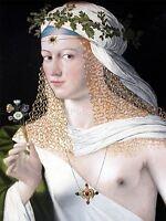 PAINTING PORTRAIT WOMAN BREAST FLOWER VEIL ART POSTER PRINT LV2820