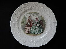 Vintage Beige Haddon House Plate with Godey Print