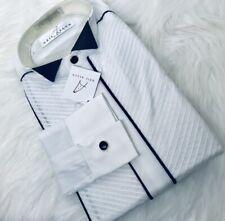 NEIL ALLYN RARE White Black Trimmed Wingtip Pleated Collar Tuxedo Shirt M 36/37