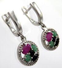 Ohrringe  Saphir Smaragd Rubin   925  Sterling Silber