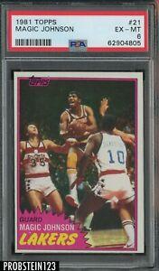 1981 Topps Basketball #21 Magic Johnson Los Angeles Lakers HOF PSA 6 EX-MT