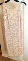 Alice + Olivia Women's Metallic Ivory Sequin Sleeveless Dress Size 6