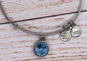 Alex and Ani Blue Aquamarine March Birthstone Silver Bracelet