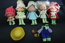 "LOT OF HASBRO 6"" VINTAGE STRAWBERRY SHORTCAKE DOLL FIGURES WITH CLOTHES"