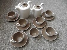 Poole Pottery Vintage 1960's Coffee Set, Two Tone, Mushroom & Sepia.