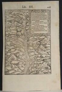 ALSACE FRANCE & GERMANY 1554 MÜNSTER SCARCE ANTIQUE WOODCUT MAP ITALIAN EDITION