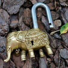 Antique Elephant Padlock Rare Brass working lock vintage bronze old lock and key