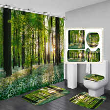 Forest Tree Flower Bath Mat Toilet Cover Rugs Shower Curtain Bathroom Decor