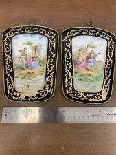 Victorian Painted Porcelain Wall Plaque Pair Navy & Gold With Musicians