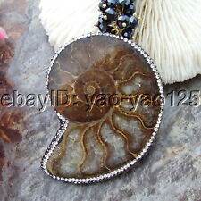 """S102904 23"""" 6 Strands White Keshi Pearl Agate Crystal Necklace FossilPendant"""