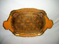 Italian Florentine Gilt Wood Orange Tray Handles Mid Century Regency Paris Apt