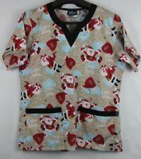 TAFFORD Scrubs 2 Pockets Medium Christmas Winter SANTA CLAUS Shirt