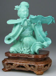 ANTIQUE CHINESE STATUE FIGURE KWANYIN LADY TURQUOISE CARVE STAND - QING 19TH