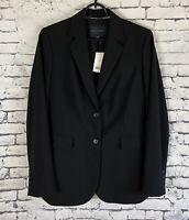 BANANA REPUBLIC Women's Black Stretch Wool Blazer Size 8