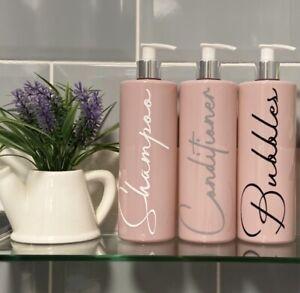 Mrs Hinch Inspired 500ml Pale Pink Pump Bottles Set Bathroom Kitchen Shower