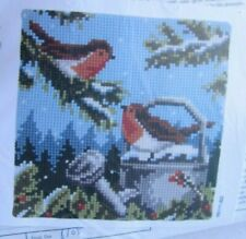Birds Watering Can Vervaco Needlepoint Pillow Kit Quick Stitch 16x16 NIP Vintage