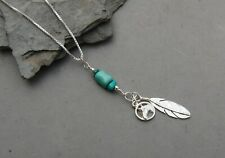 "Horse Feather Turquoise Pendant Sterling Silver 20"" Box Chain Hand Made 3 1/4"""