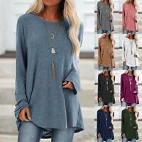 Womens Blouse Jumper Ladies Long Sleeve Tee Sweatshirt Plain Shirt Loose Tops
