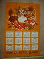 Vintage Calendar 1977 Linen Kitchen Dish Tea Towel Orange Harvest Wall Hanging