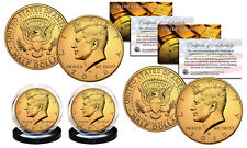 24K GOLD PLATED 2018 JFK Kennedy Half Dollar 2-Coin Set BOTH P&D MINT w/Capsules