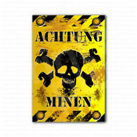 Achtung Minen Danger Mines Sign Sticker