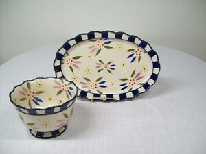 """Temptations - Old World Confetti -16"""" Platter and Bowl Set - Excellent Condition"""