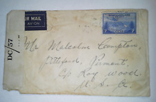 CANADA 1944 WWII NEWFOUNDLAND Censored Airmail Cover to Vermont