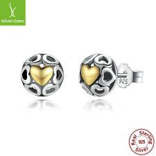 MY ONE TRUE LOVE Authentic 925 Sterling Silver/14K GOLD Heart Stud Earring Women
