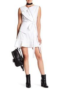 TOV Women's Sleeveless Asymmetric Cotton Blend Zip Mini Dress White Size 42 / L