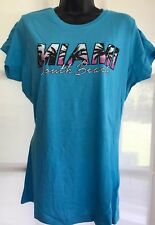 BNWT NEW LOOK 16 turquoise Miami South Beach print short slve tunic t-shirt top