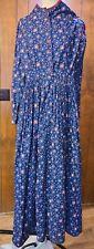 Civil War Day Dress Size 6-8 Petite 100% Cotton Cartridge Pleated Indigo Resist