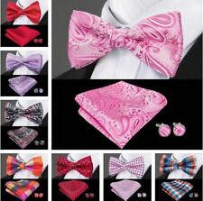 Mens Bowties Red Blue Black Pink Silk Pretied Set Solid Paisley Bow tie Wedding