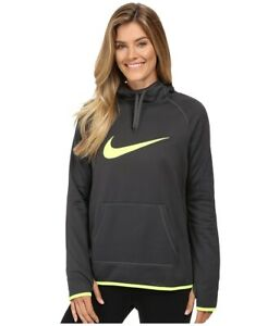 Nike Logo Therma Hoodie Pullover Training Casual Top DRI-FIT Grey/ Volt  Large