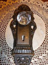 Cast Iron decorative door plate acrylic glass knob beautiful brown/olive tones