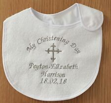 Personalised Christening Naming Day Baby Bib Any Name Embroidered In Any Colour