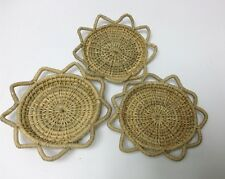 Natural Wood Bamboo Coaster Handmade Vintage Home Decor Coffee Souvenir Set of 3