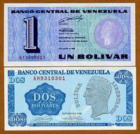 SET Venezuela, 1;2 Bolivares, 1989, Picks 68-69, UNC