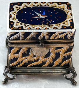 Antique Cobalt Blues Glass Casket Box Raised Enamel & Silver Plate Feet trim