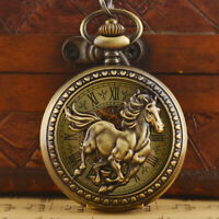 Steampunk Horse Vintage Mens Mechanical Pocket Watch Skeleton Roman Dial Chain