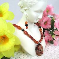 Necklace Earrings Red Agate Onyx Wire Wrapped Pendant Carnelian Onyx Beads OOAK