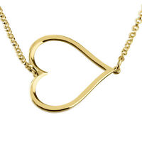 Sideways Heart Pendant 24k Gold Plated Personalized Necklace - oNecklace ®