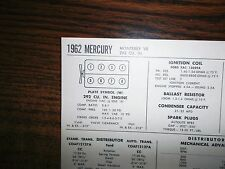 1962 Mercury EIGHT Series Monterey Models 292 CI V8 Tune Up Chart