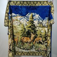 """Deer Wall Table Cover Plush Tapestry 71"""" X 47"""" Vintage"""